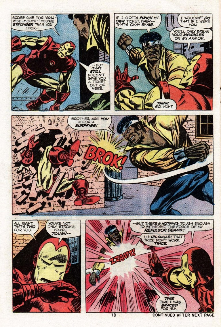 In 'Power Man' (1974) #17, Luke Cage punches Iron Man through the brick wall.