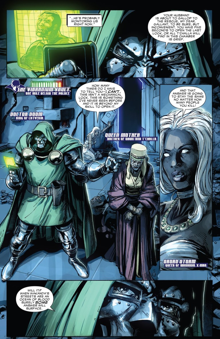 In 'Doomwar' (2010) #2, Queen Ororo attempts to lock-pick the Vibranium Vault as Doctor Doom holds T'Challa's mother at gunpoint.