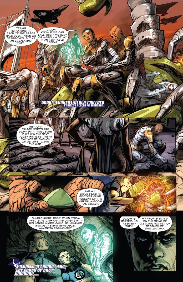 In 'Doomwar' (2010) #5, T'Challa's army is facing casualties in the Doomwar.