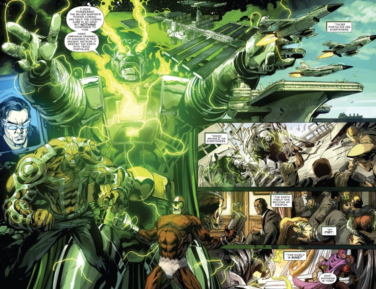 In 'Doomwar' (2010) #6, Doctor Doom upgrades his armor to planetary level with stolen Vibranium from Wakanda.