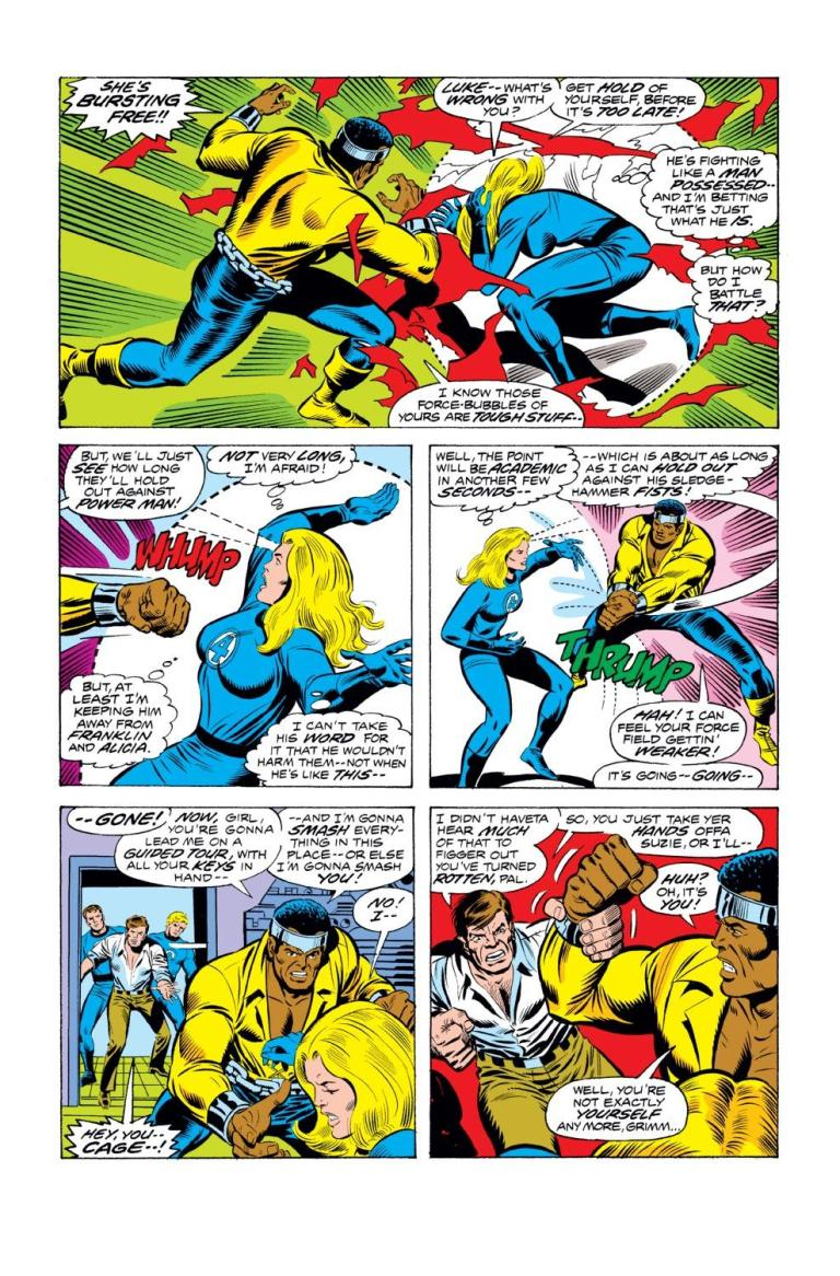 In 'Fantastic Four' (1961) 169, Power Man breaks Invisible Woman's force fields with two punches.