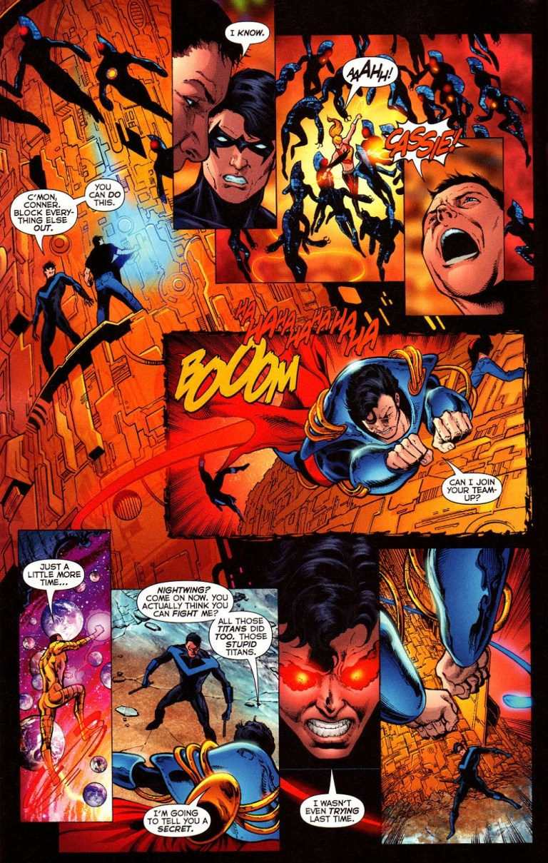 In 'Infinite Crisis' (2006) #6, Superboy-Prime attempts to kill Nightwing.
