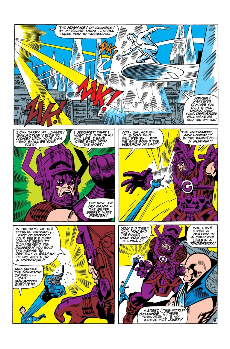 In 'Fantastic Four (1966) #50, Mister Fantastic retrieves the Ultimate Nullifier with the Human Torch's help in order to stop Galactus from consuming the Earth.