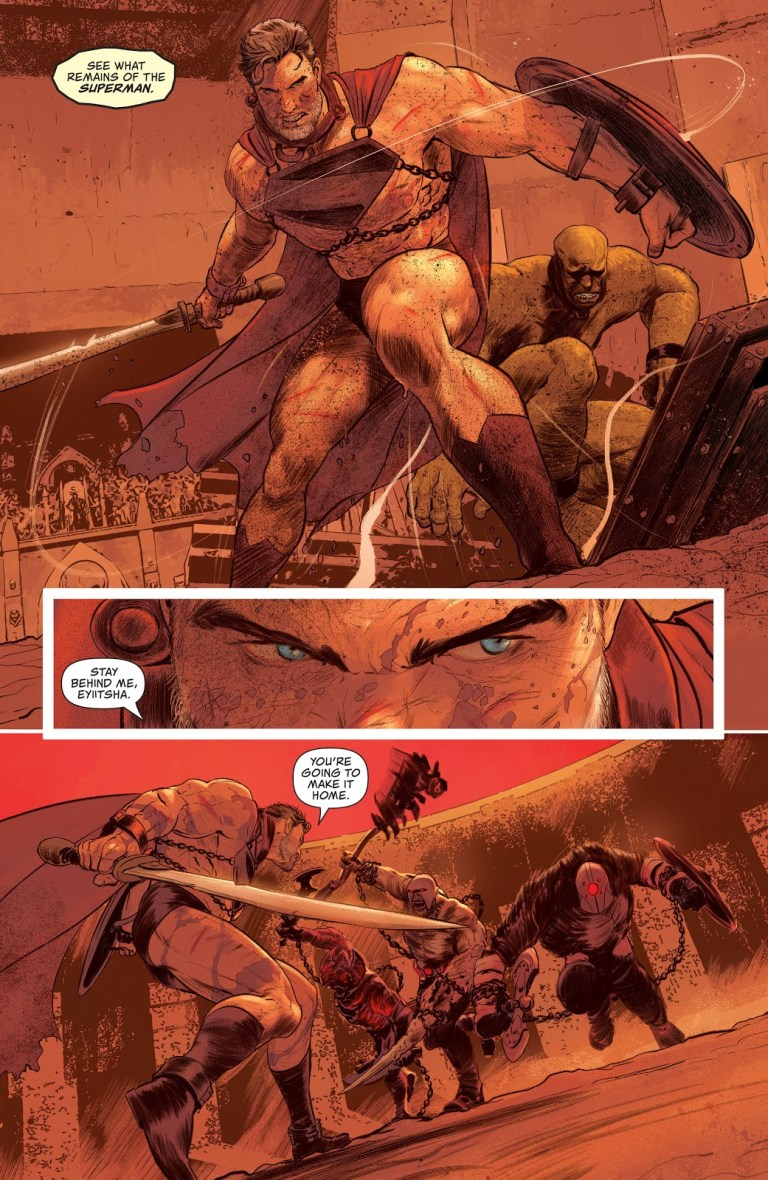In 'Future State: Worlds Of War: Superman' (2021) #1, Superman fights in gladiatorial combats on Warworld.