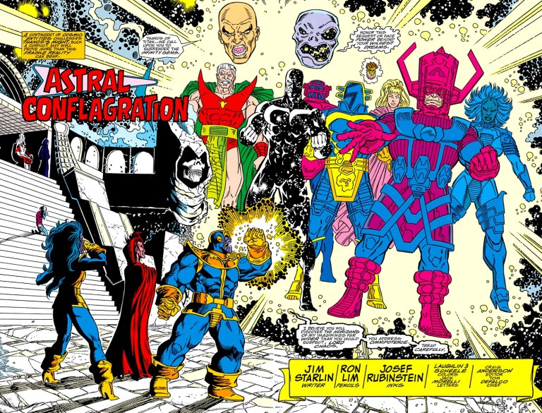 In 'Infinity Gauntlet' (1991) #5, Thanos with the Infinity Gauntlet faces the cosmic entities.