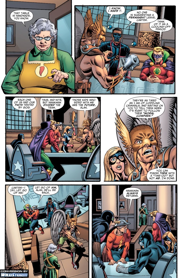 In 'Justice Society Of America' (2009) #23, Hawkman leaves the JSA.