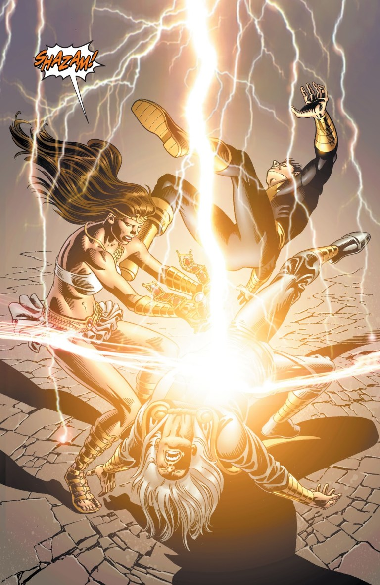 """In 'Justice Society Of America' (2009) #23, Isis says the magic name """"Shazam"""" in order to cast Billy Batson out of the Rock of Eternity."""