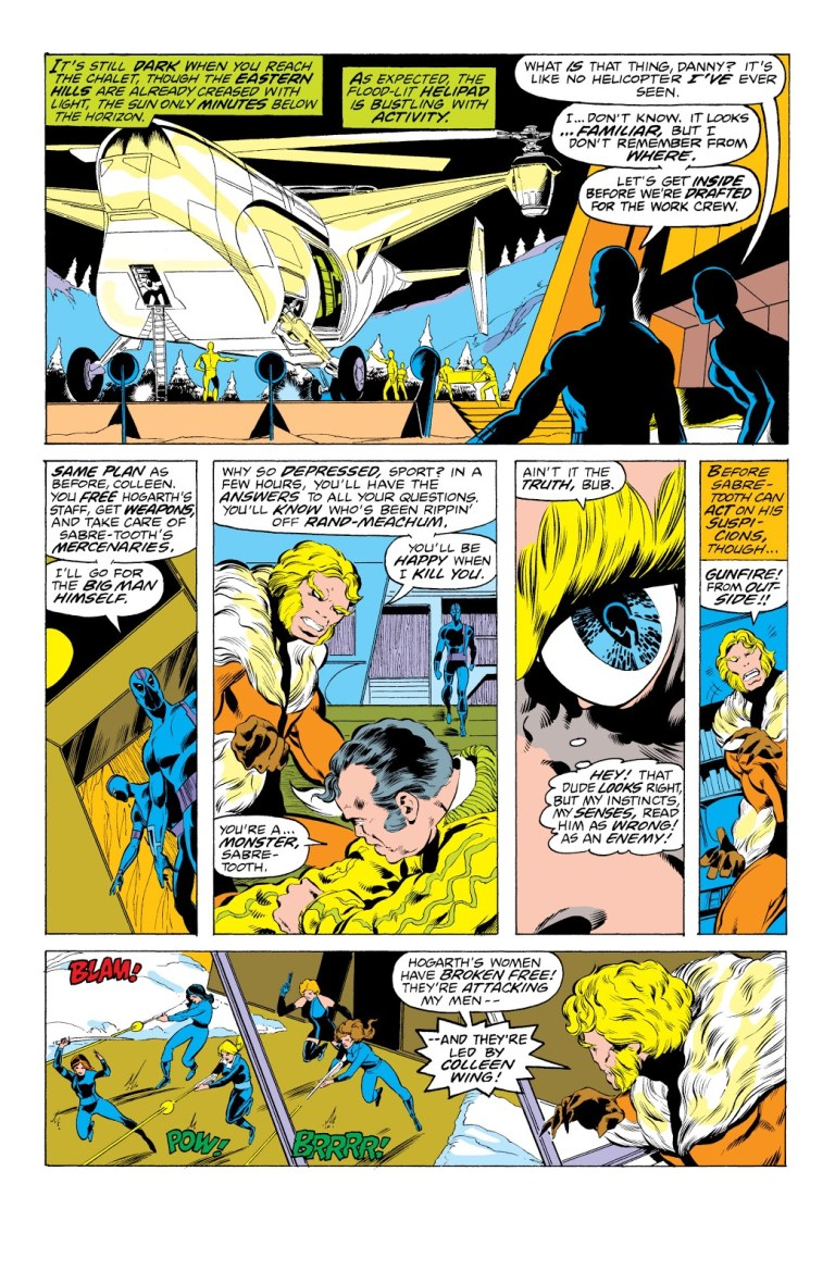 In 'Iron Fist' (1977) #14, Sabretooth picks out a disguised Iron Fist with his enhanced sense of smell.