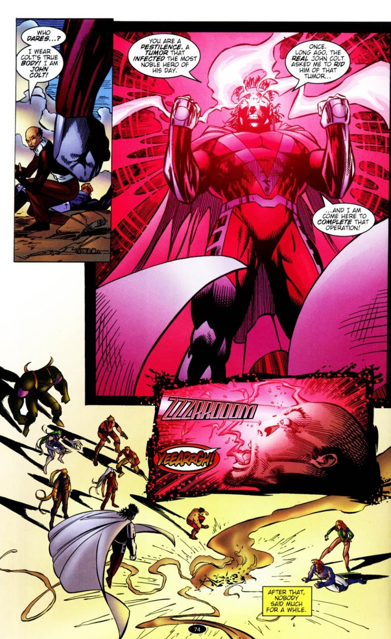 In 'WildC.A.T.s: Covert Action Teams' (1996) #30, Mister Majestic incinerates Kaizen.