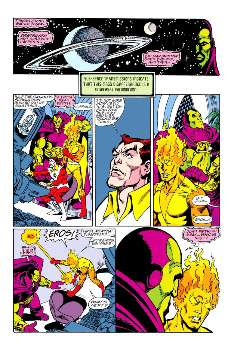 In 'Infinity Gauntlet' (1991) #2, Issac tells Firefox, Drax and Starlord that Thanos erased half the population of the Milky Way galaxy.