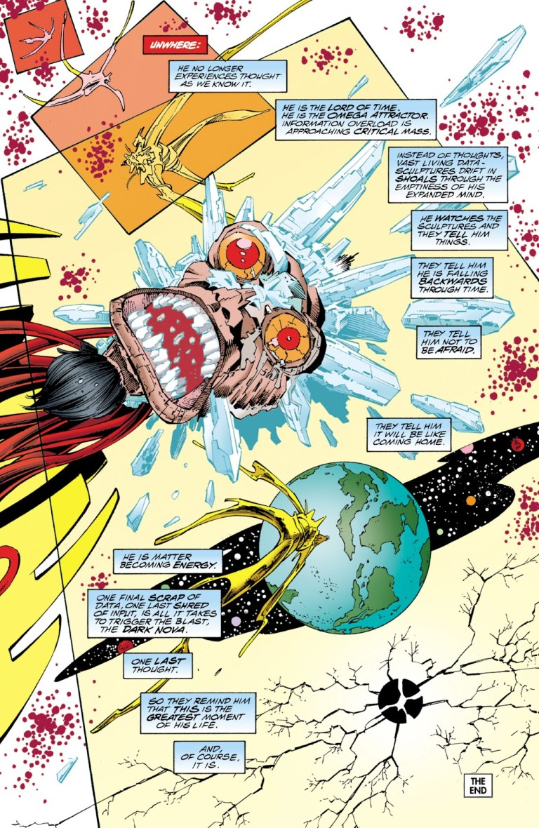 In 'JLA/WildC.A.T.s.' (1997), Epoch's Omega Attractor explodes.