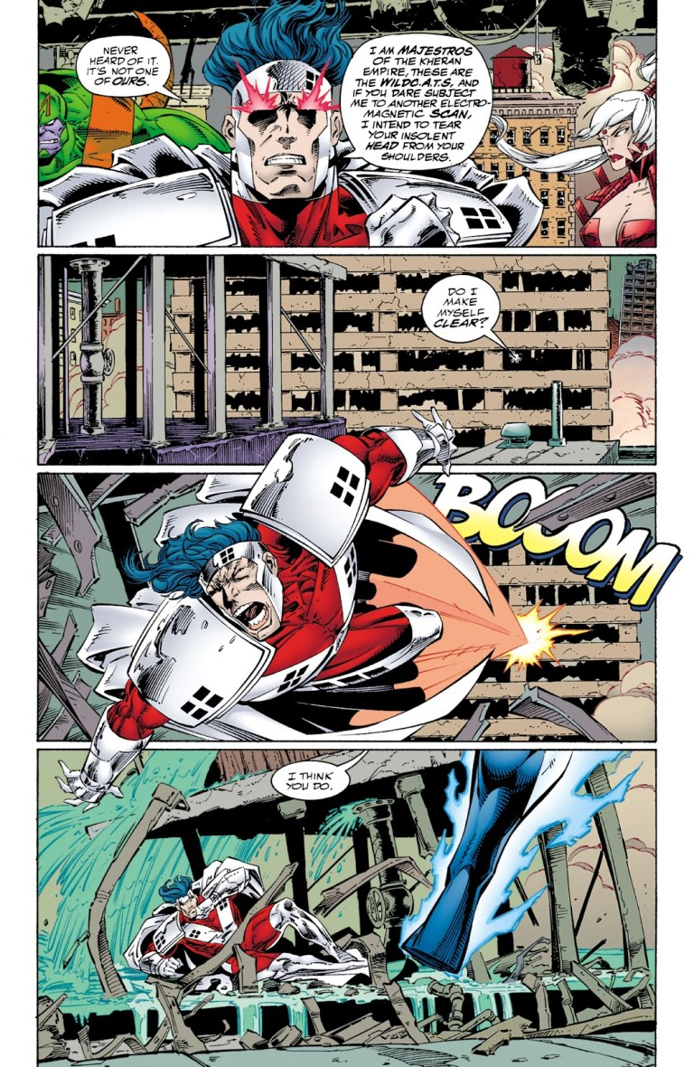 In 'JLA/WildC.A.T.s.' (1997), the JLA and WildC.A.T.s. brawl in their first crossover.