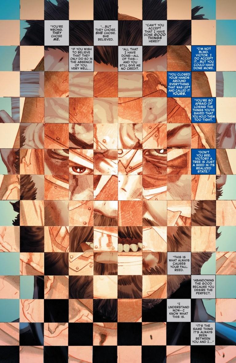 In 'Secret Wars' (2016) #9, Doctor Doom and Mister Fantastic battle in Molecule Man's white hot room.