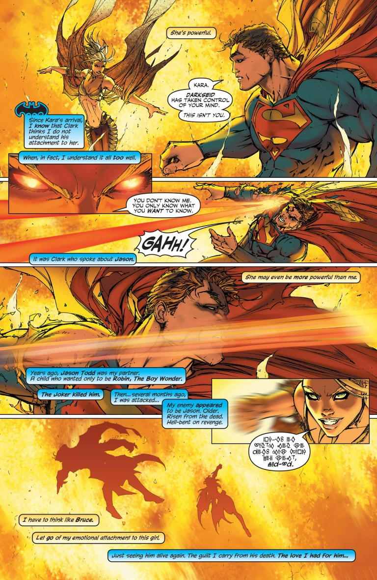 In 'Superman/Batman' (2004) #12, Superman states Supergirl may be more powerful than him.