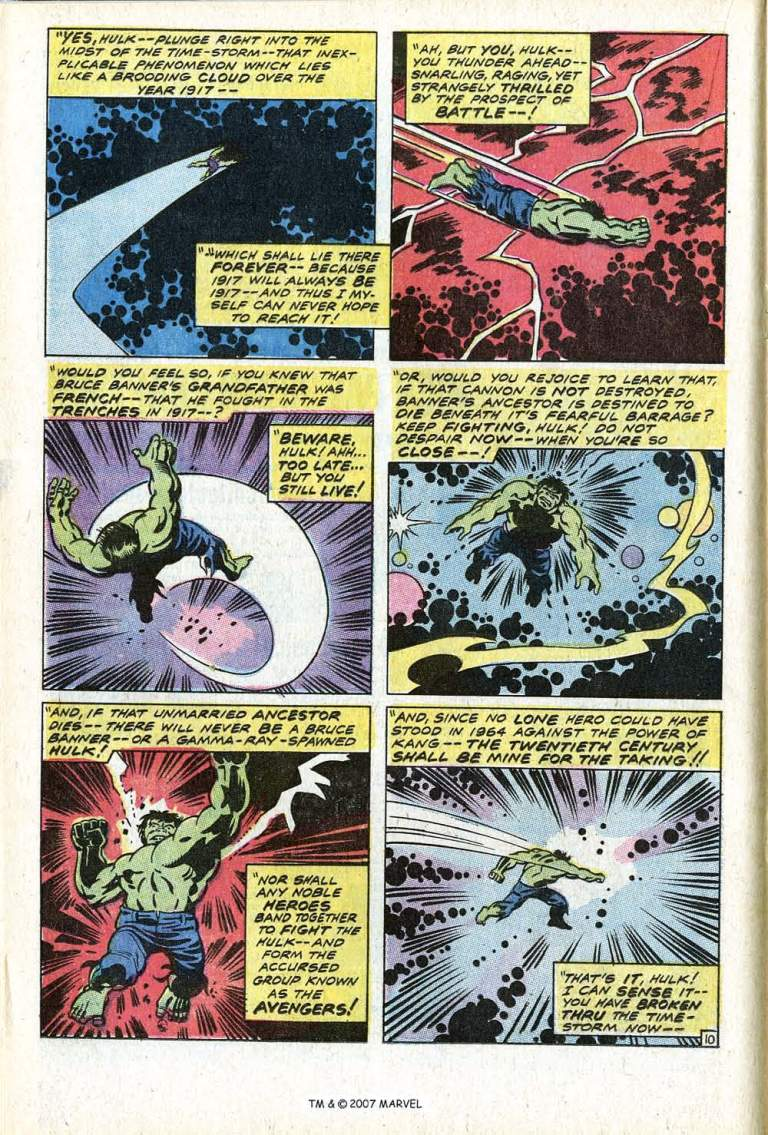 In 'The Incredible Hulk' (1971) #135, Hulk punches through time to World War I.