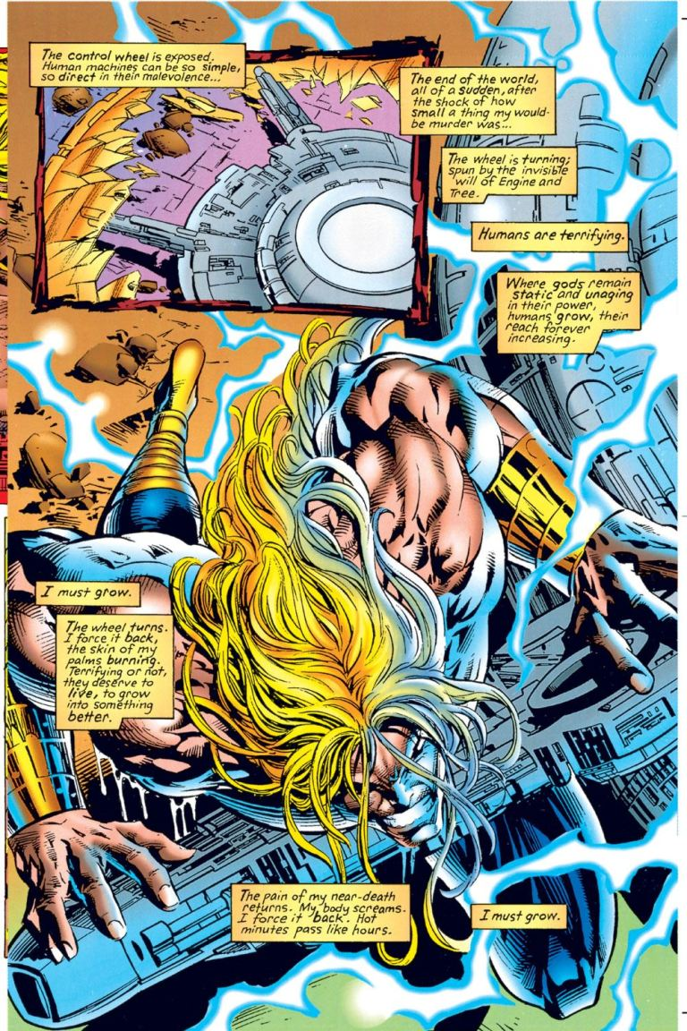 In 'Thor' (1996) #494, Thor pushes the Worldengine in order to revert the nine realms to their original position, stopping Ragnarok.