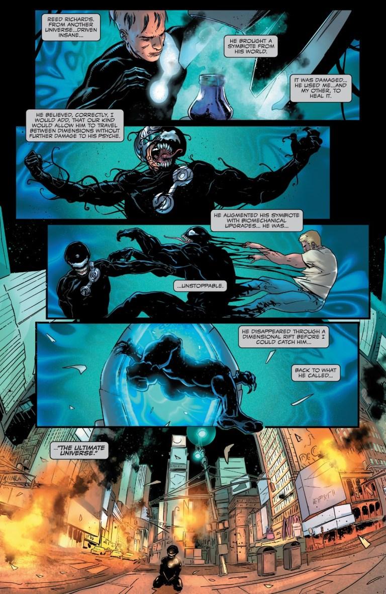In 'Venom' (2021) #200, the Maker returns to the Ultimate Universe using the Venom symbiote.