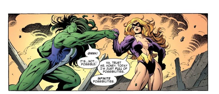 In 'She-Hulk' (2005) #11, Titania with the Power Gem fights She-Hulk to the finish.
