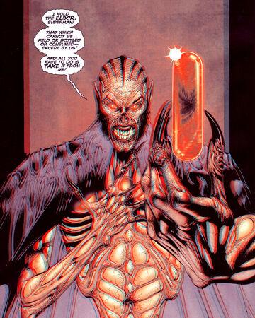 In 'Superman Beyond' (2009) #2, Mandrakk holds the Bleed, the elixir of life.