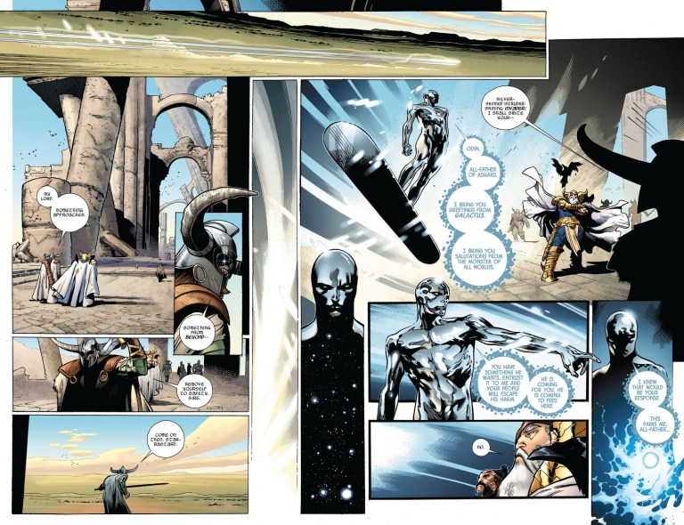 In 'The Mighty Thor' (2011) #2, Silver Surfer announces the arrival of Galactus.