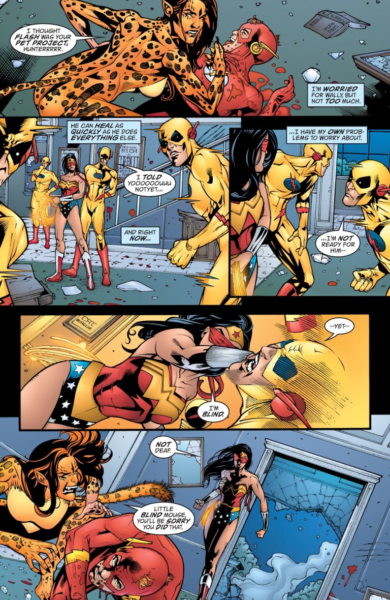 In 'Wonder Woman' (2005) #214, a blind Wonder Woman tags Reverse-Flash moving at near light-speed.