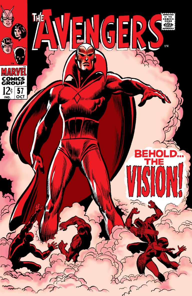 """'Avengers' (1968) #57, titled """"Behold... The Vision!"""" marks the first appearance of Vision in Marvel continuity."""
