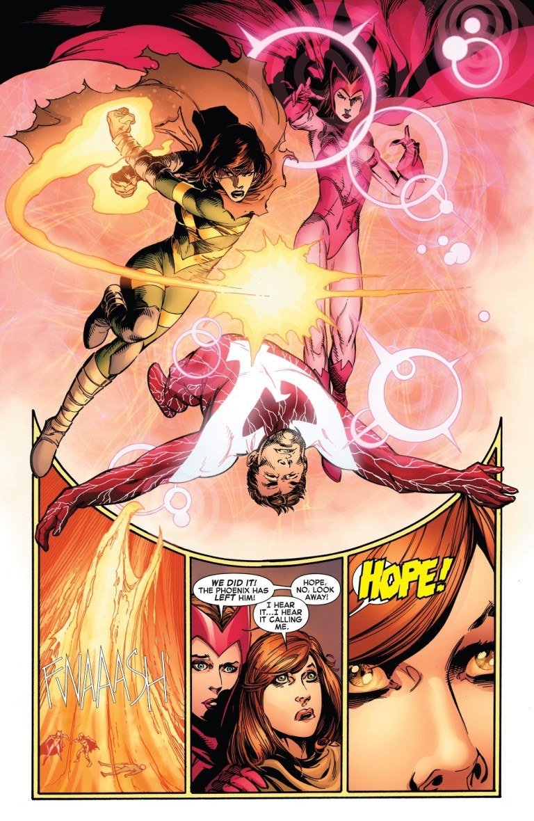 In 'Avengers vs X-Men' (2012) #12, Hope Summers defeats Cyclops with the Iron Fist.