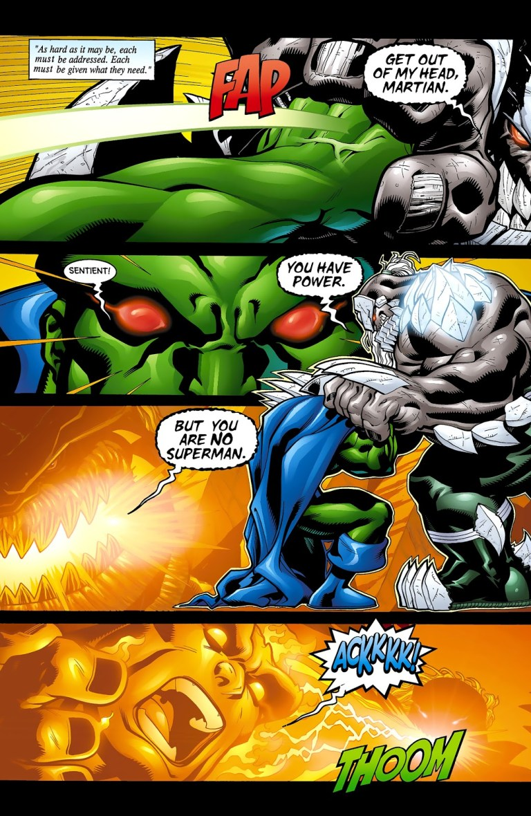 In 'Superman' (2001) #175, an intelligent Doomsday breathes fire on Martian Manhunter.