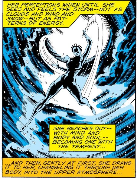 In 'X-Men' (1979) #121, Storm disperses Shaman's blizzard.