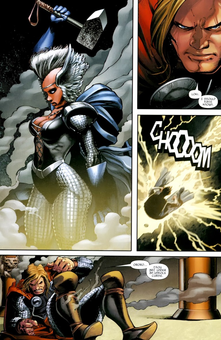 In 'X-Men: To Serve And Protect' Storm uses Stormcaster to transform into the Goddess of the Storm.