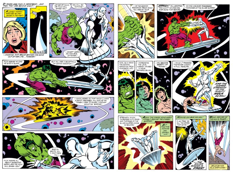 In 'Incredible Hulk' (1980) #250, the Silver Surfer absorbs the Hulk's gamma radiation who reverts to Bruce Banner.