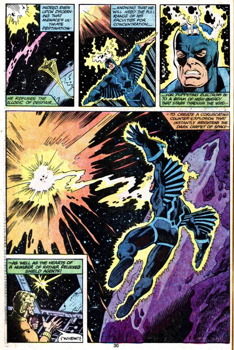 In 'Marvel Two-In-One Annual' (1979) #4, Black Bolt uses his electron manipulation to stop a solar flare.