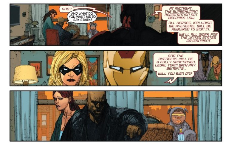 In 'New Avengers' (2006) #22, Iron Man coaxes Luke Cage into signing the Superhero Registration Act.