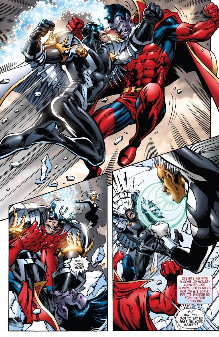 In 'War of Kings' (2009) #1, Black Bolt and Gladiator battle.