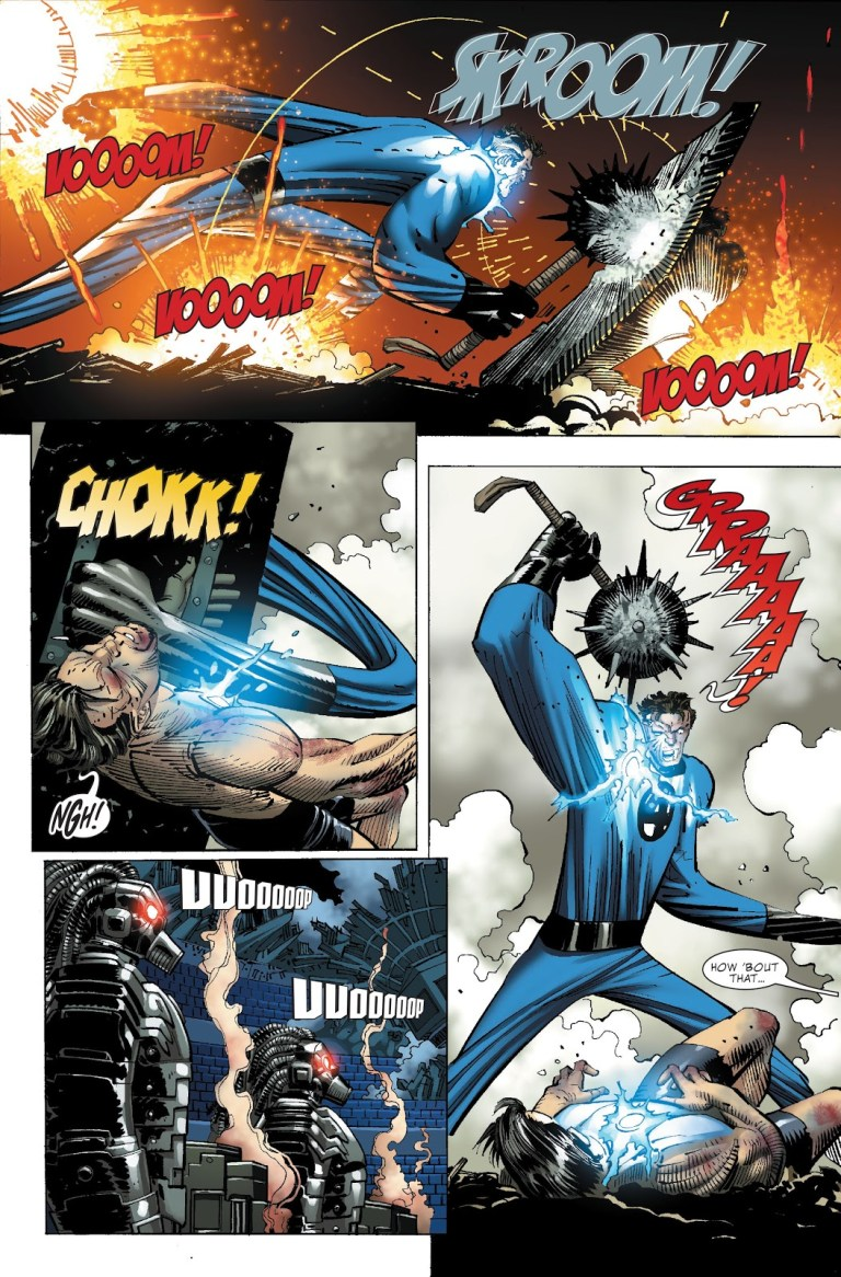 In 'World War Hulk' (2006) Mister Fantastic and Iron Man fight as gladiators in New York City.