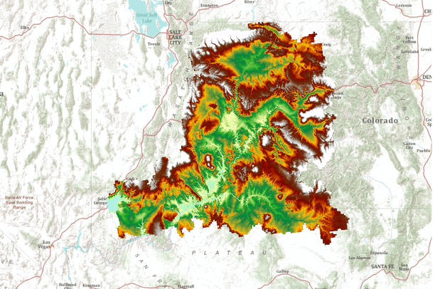 Digital elevation model of the Colorado Plateau ecoregion USA  Data Basin