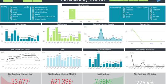 Power BI Portfolio picture of a Purchases report