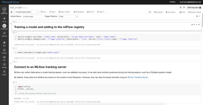 Azure Databricks model training and deployment via MLflow