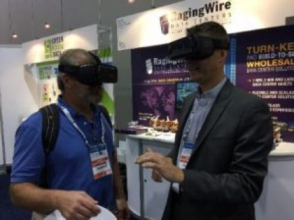 Attendees at the Gartner data center conference in Las Vegas sampling a virtual tour of a RagingWire data center.