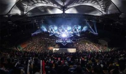 The packed arena at the League of Legends championship finals held in November in South Korea, which streamed to 99 million eSports enthusiasts. (Source: Riot Games)
