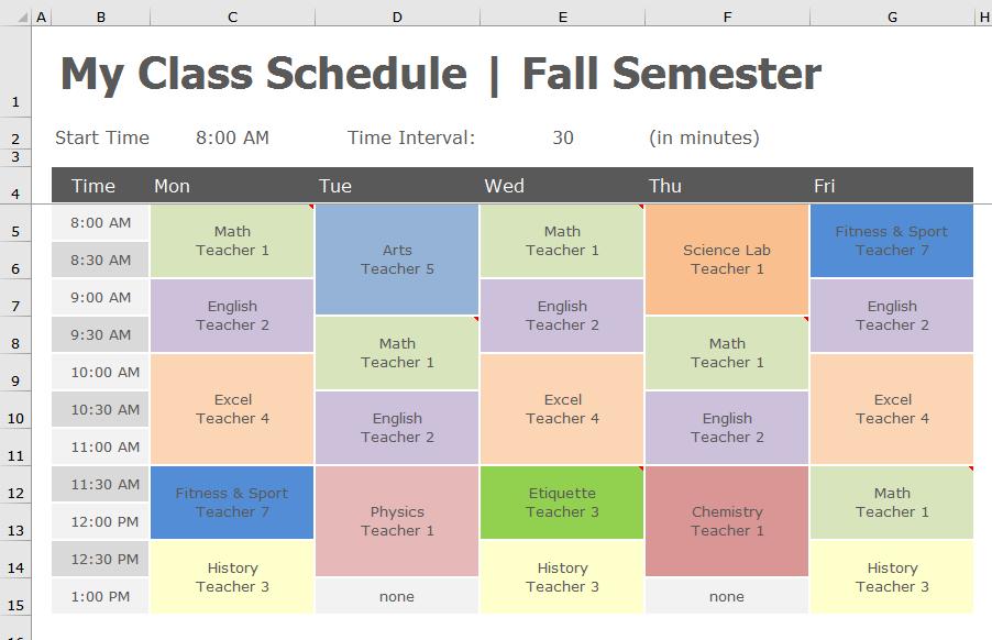 school class scheduler