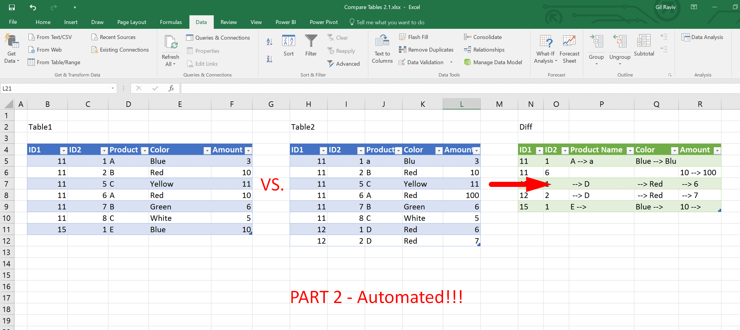 Compare Tables In Excel Amp Power Bi