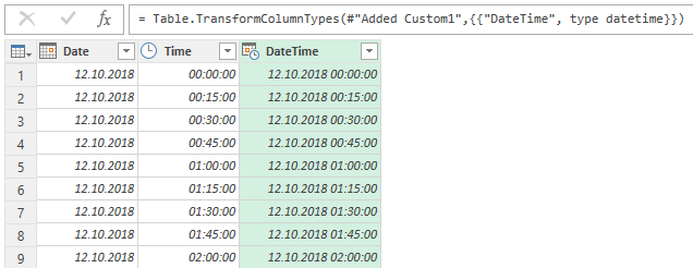 How to generate date and time interval list using Power Query - Data