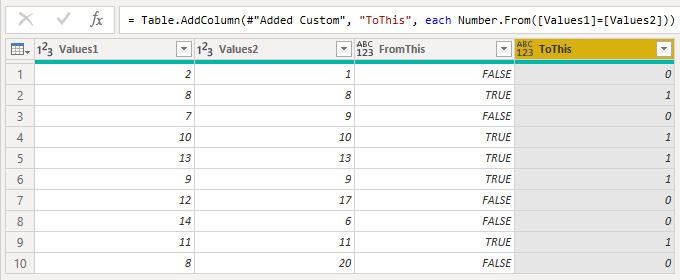 Power Query convert TRUE and FALSE into 1 and 0 use