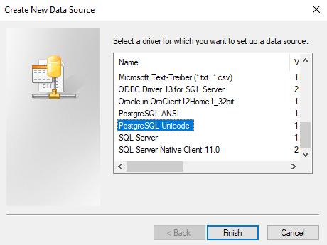 PostgreSQL Windows ODBC data sourc