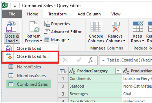 Close & Load To...in Query Editor
