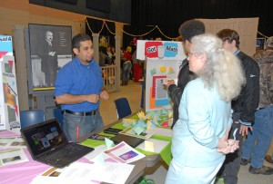 VGCC College Transfer student Abanoub Botros (left), a native of Egypt, manned a booth set up by the Math Club at the 2013 Cultural Fair. (VGCC photo)