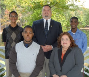VGCC Student Government Association officers for 2013-2014 include: seated, from left, vice president David Henry and president Theresa Chiplis; and standing, from left, treasurer Matthew Lewis, parliamentarian Joe Ahrens and secretary Brandon Doughty. Not pictured: public information officer Yolanda Richardson. (VGCC photo)