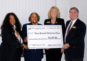 The Board of Trustees received a symbolic check for $22,307 from the leaders of the VGCC Endowment Fund Faculty and Staff Drive at the November Board meeting. The money was raised to fund scholarships for deserving students at VGCC. Pictured from left: Jacquelin Heath, Board of Trustees Chair Deborah F. Brown, Amy O'Geary and Eddie Ferguson. (VGCC photo)