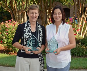 VGCC's 2014 award winners included, from left, Staff Member of the Year Kathy Ktul and Faculty Member of the Year Tomeka Moss. (VGCC photo)
